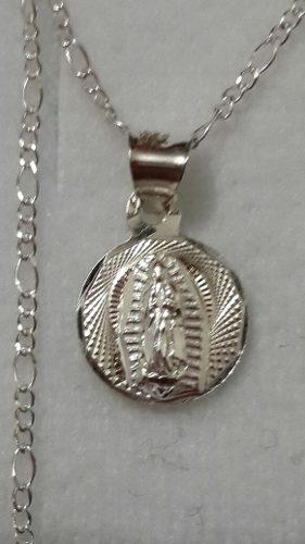 Medalla De Plata De Virgen De Guadalupe De 1 Cm Para Bautizo