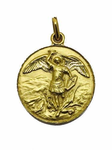 Medalla Oro 18k San Miguel Arcángel #328 Bautizó Comunión