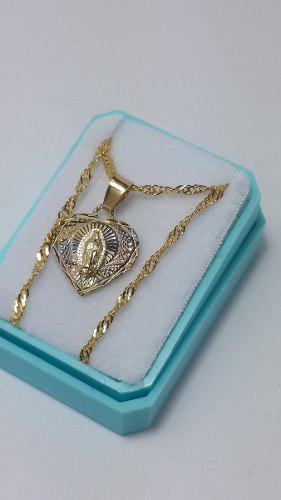 Medalla Virgen De Guadalupe De Corazón Y Cadena Envio