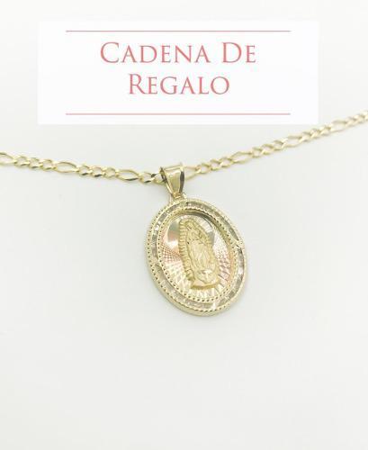 Medalla Virgen De Guadalupe Oro 10k + Cadena De Regalo