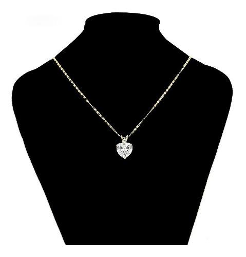 Precioso Collar Corazón Swarovski Oro 14k Lam Regalo