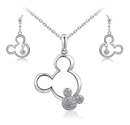Precioso Set Mickey Mouse Collar Y Aretes