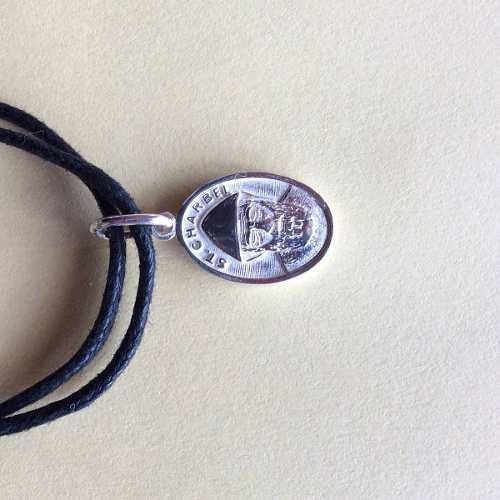 Pulsera Medalla Doble Vista San Charbel San Benito Plata Ley