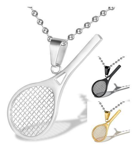 Regalo Collar Raqueta Tenis Deportes Acero Oro Plata Negro