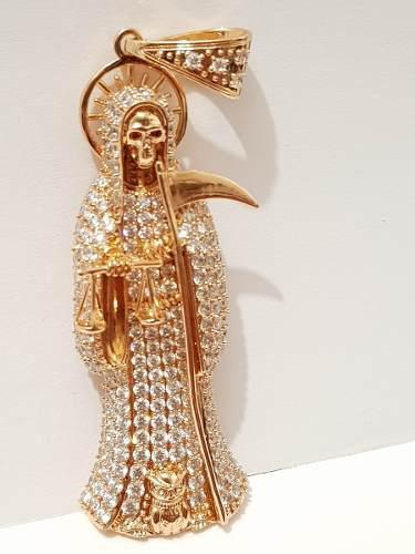 Santa Muerte Oro Lam. Y Zirconias Con Cadena De 4 Mm Envio G