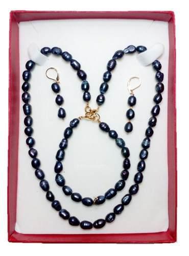 Set Collar Pulsera Y Aretes Perla Cultivada Akoya Negra A07