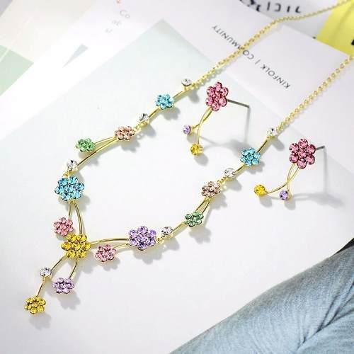 Set Flores Collar Y Aretes Cristal Swarovski Oro18kgp Regalo