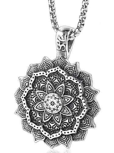 Tíbet Mándala Espiritual Amuleto Dije Collar Acero Unisex