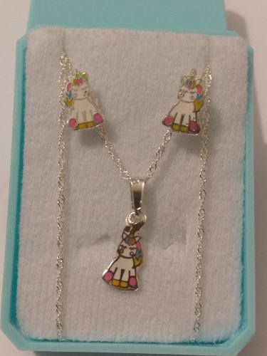 Unicornio Collar Y Aretes De Plata 925 Y Envio Gratis