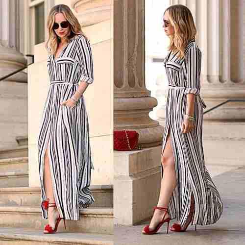 Vestido Largo Informal A Rayas Con Tajo Nuevo Para Mujer