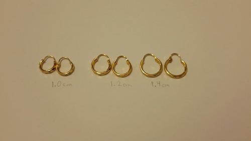 Arracadas Oro Lam. 3 Pares De  Y 1 Cm Envio Gratis