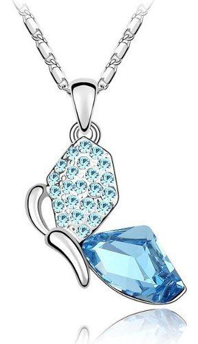 Collar Con Dije Mariposa Cristales Swarovski Plata S925