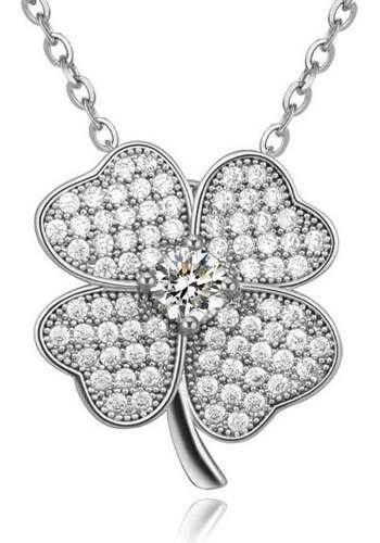 Collar Con Dije Trebol Cristales Swarovski Plata S925 Regalo