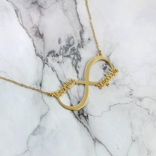 Collar Infinito Con Nombres Chapa Oro 22k