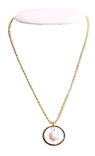 Collar Serpiente Dorado Dije Y Perla Natural Cultivada A051