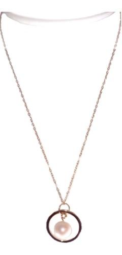 Collar Y Aretes Perla Cultivada Y Chapa De Oro A036