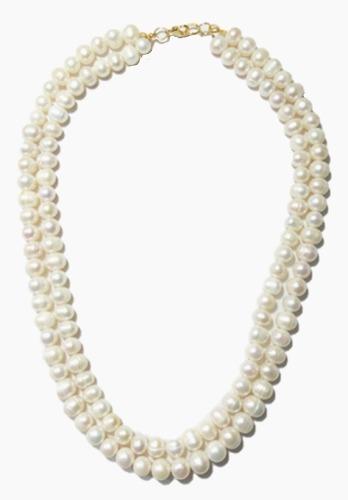 Collares Juntos Perla Cultivada Broche En Chapa De Oro A054
