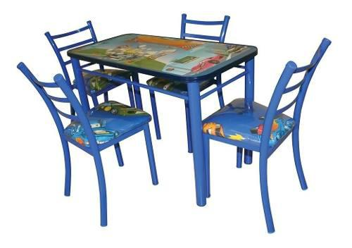Comedor Infantil + 4 Sillas Infantiles Envio Gratis Azul Ros