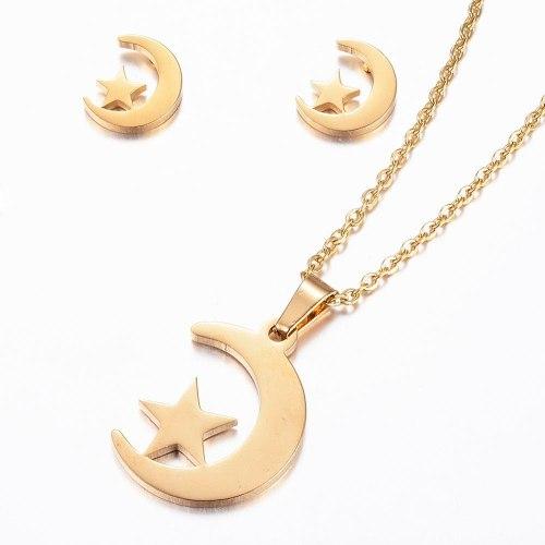 Joyería Acero Inoxidable 304 Conjunto Luna Y Estrella Oro