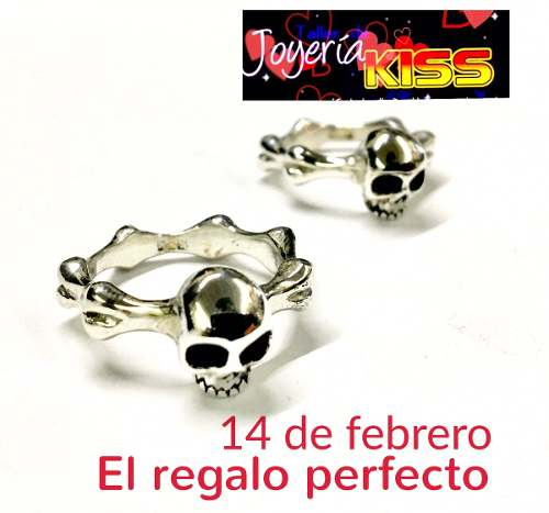Par Anillos De Cráneo Calavera Skull Rings Plata Ley