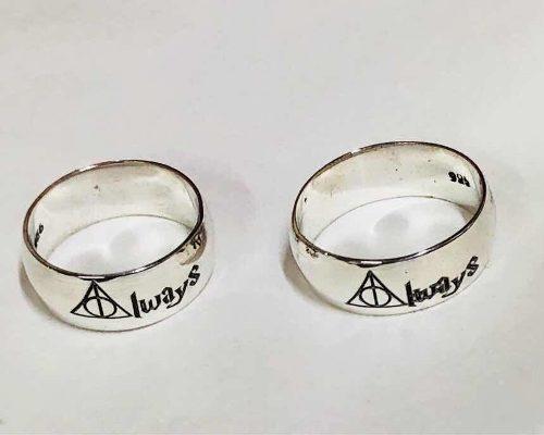 Par De Anillos Harry Potter Plata Ley.925