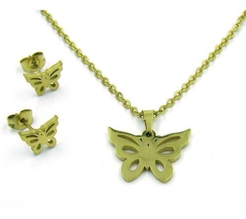 Set Joyeria Acero Dorada Collar Aretes Mariposa Calada Eg