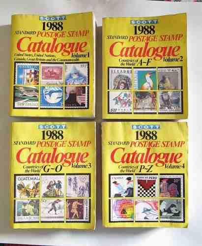 4 Catálogos De Timbres Postales 1988