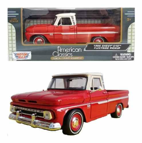 Camioneta Chevrolet C-10 Fleetside  Roja Motor Max 1/24
