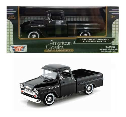 Camioneta Chevy Apache Fleetside  Negra Motor Max 1/24