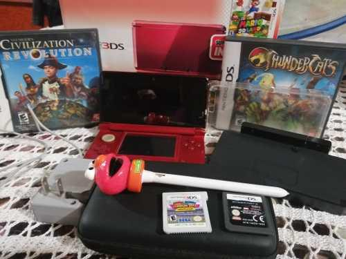 Nintendo 3ds Color Flame Red Con 4 Juegos,2cargadores Y
