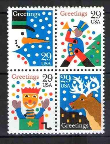 U S A Christmas Block De 4 Estampillas 1
