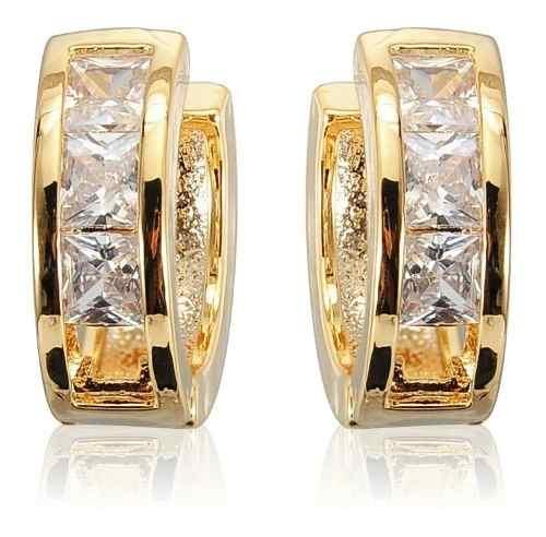 Arracadas Oro 18k Con Cristal Zirconia Diamante + Estuche.