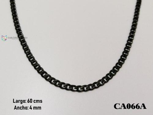 Cadena Barbada 60cms 4mm Acero Inoxidable Negro