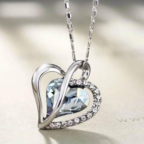 Dije Y Collar Corazón Cristal Swarovski Elements Oferta