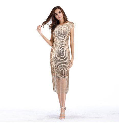 Moda Mujeres Lentejuelas Vestido Borlas Flecos Dobladillo