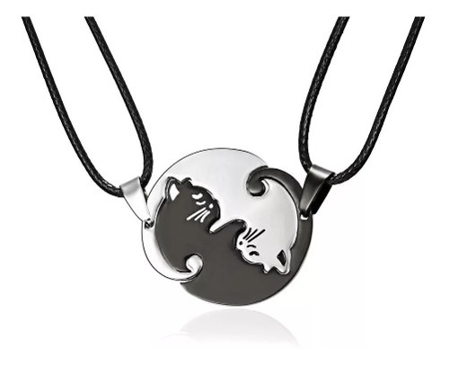 Par Collar Yin Yang Acero Inoxidable Gato Pareja Con Envio
