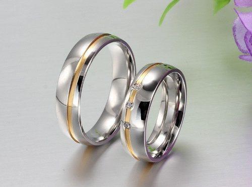 Par De Anillos De Pareja Compromiso Matrimonial Acero Inox