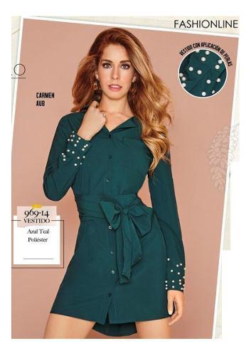 Vestido Cklass Verde Teal 969-14 Otoño Invierno 2018 Nuevo