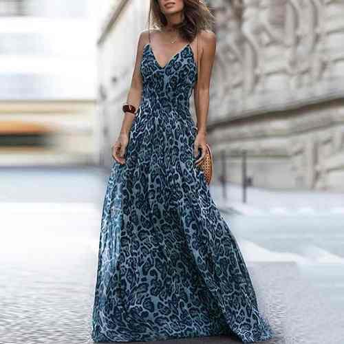 Vestido Largo Impresión Leopardo Mujeres Cuello En V Espagu