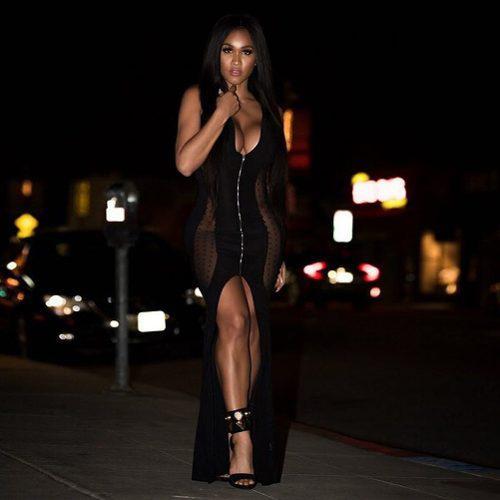 Vestido Maxi De Las Mujeres Atractivas Sheer Mesh Deep V Sin