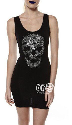Vestido Tirante Calavera Flores Craneo Skull Moda Alternativ