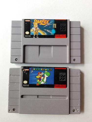 2 Juegos Para Super Nintendo Star Fox Y Super Mario World