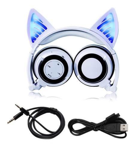 Audífonos Bluetooth Orejas De Gato Con Luz Led Manos Libres