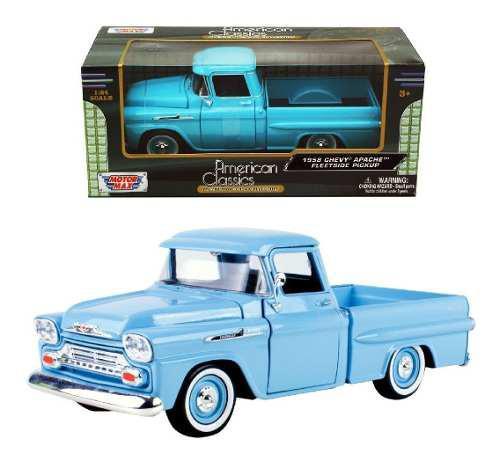 Camioneta Chevy Apache Fleetside 1958 Azul Motor Max 1/24
