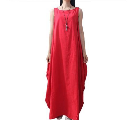 Vestido S/mangas Holgado C/vuelo Y Cuello Redondo Rojo 3xl
