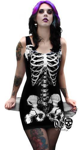 Vestido Tirante - Esqueleto Huesos Terror - Envio Gratis
