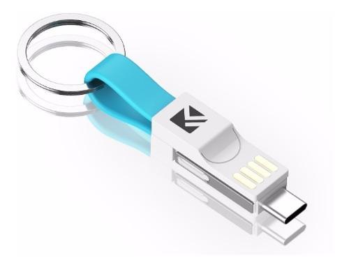 Cable 3 En 1 Llavero iPhone, Tipo C Y Microusb O V8