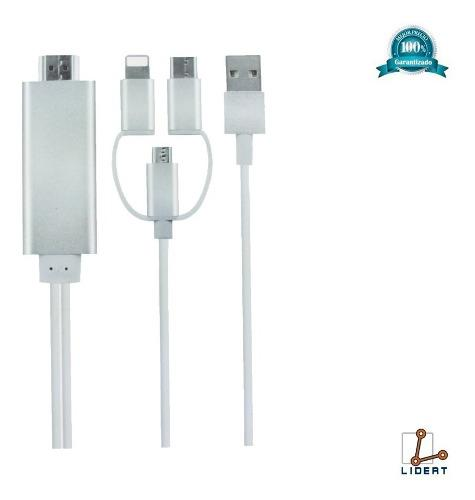 Cable Hdmi V8 Tipo C Usb Android iPhone Ios Hd Tv 1080 A5-14