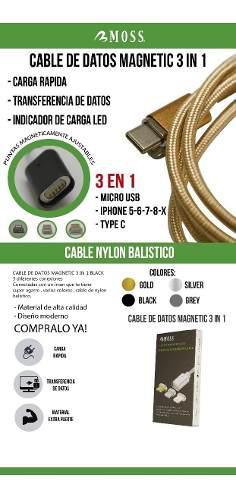 Cable Magnetic 3 En 1 !! Datos Carga Rapida !!envio Gratis!!