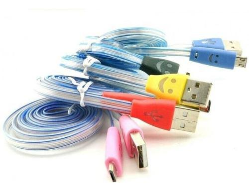 Cable Micro Usb Android V8 Luminoso Luz Led Datos Carga.